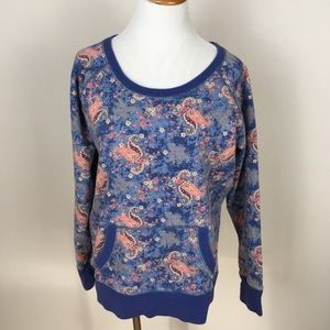 Lucky Brand Paisley Floral Sweatshirt Large